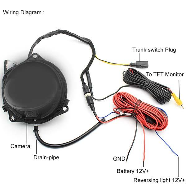 Emblem Pop Open Backup Camera (RCA Connector) for Volkswagen on